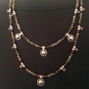 Sterling Labradorite & Garnet Bead Necklace